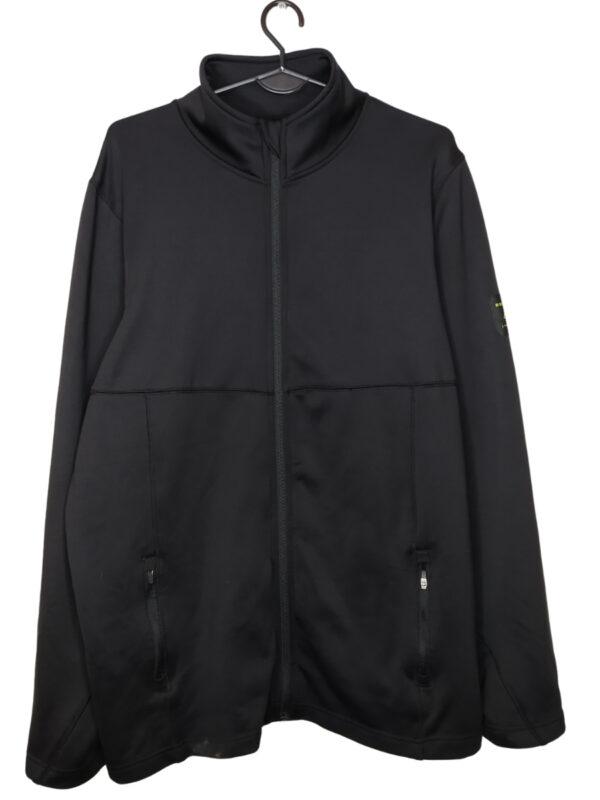 Czarna kurtka sportowa. Widoczne lekkie ślady noszenia. Na dole plama.