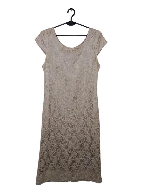 Kremowa koronkowa sukienka z satynową podszewka.