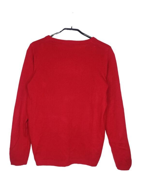 Czerowny świąteczny sweter z cekinkwym napisem.