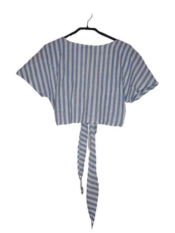 Wiązany top w paski wiązany w talii.
