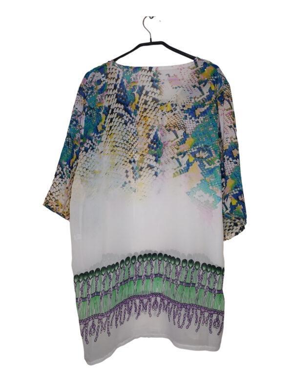 Biała bluzka w kolorowe wzory. Przewiewna, wiązana przy dekolcie.