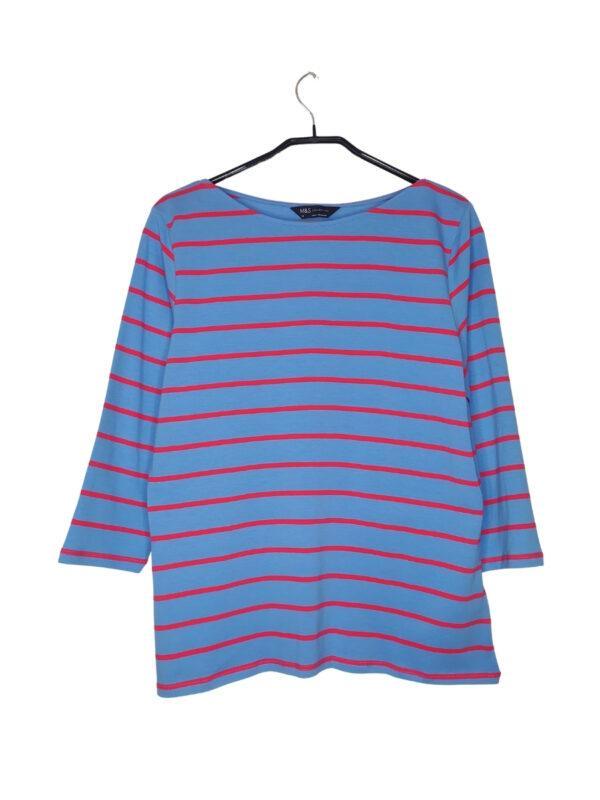 Niebieska bluzka w czerwone paski z długim rękawem.