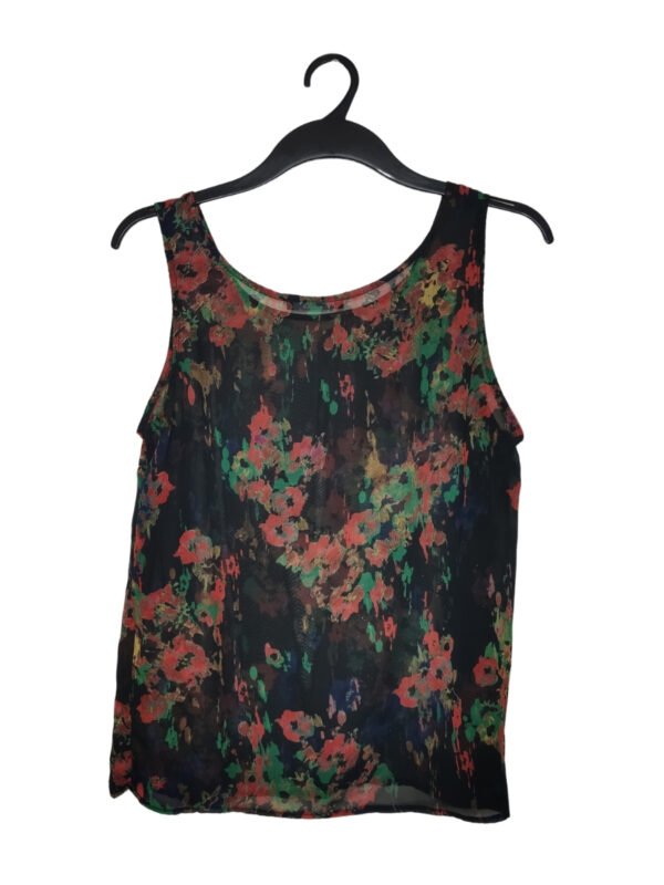Czarna przewiewna bluzka w kolorowe wzory. Transparentna.