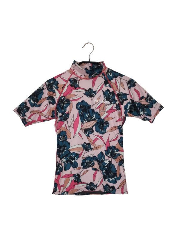 Różowa bluzka w kwiaty. Półgolf i rękawki.