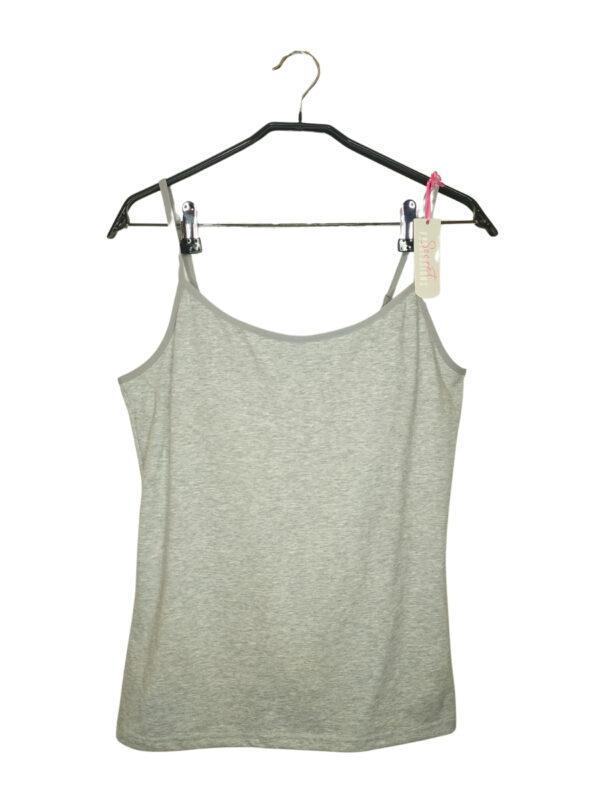 Szara bluzka na naramkach z wszytymi miseczkami w biuście. Regulowane ramiączka.