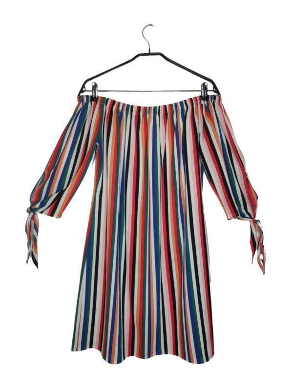 Bluzka hiszpanka w kolorowe paski. Wiązane rękawki.