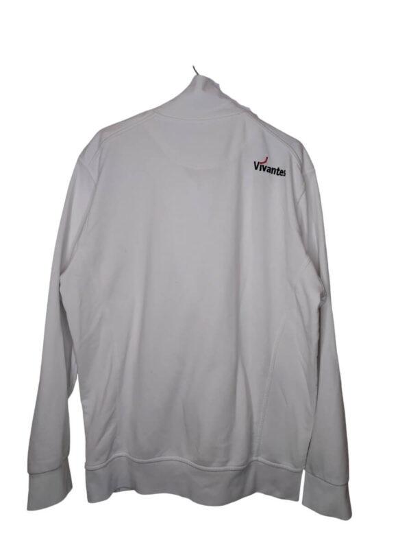 Biała bluza na zamek z wyszytymi czerownymi i czarnymi elementami.