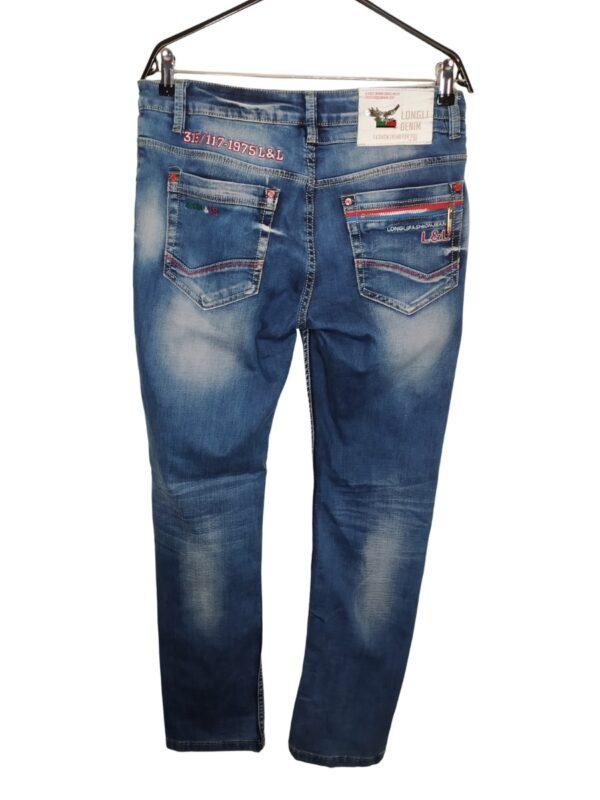 Spodnie jeansowe z czerownymi wstawkami. Z tyłu na lewej kieszeni ozdobny zamek.