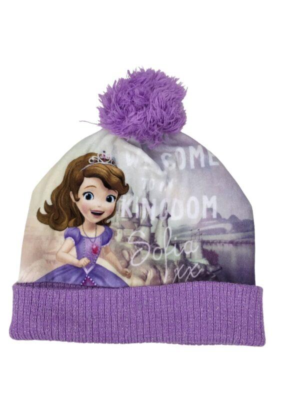 Fioletowa czapka zimowa z pomponem z bajki Księżniczka Zosia.
