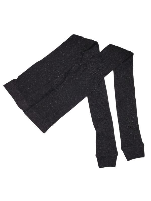 Czarne, połyskujące getry ze sweterkowym wzorem. Niestety brak rozmiaru.