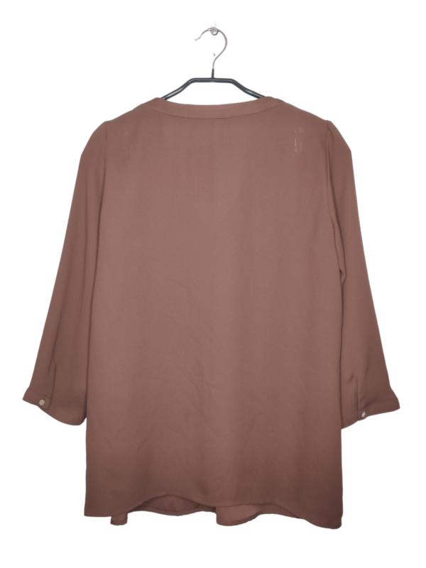 """Brązowa bluzka koszulowa w dekoltem w literę """"V"""""""