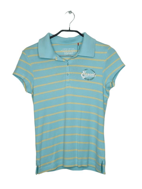 Błękitna koszulka polo w żółte, cienkie paski. Posiada naszyte logo Esprit na piersi.